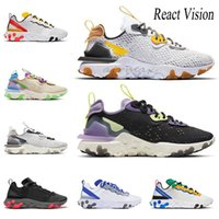 Nike React Vision Element 55 87 Bred Vision React Chaussures Element 55 87 React Chaussures de course Triple Blanc Noir Royal Game Voile Jade Respirant Chaussures de sport 36-45
