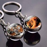 الحيوان المفاتيح النمر الذئب فوكس الأسد مزدوجة الجانب الزجاج الكرة مفتاح سلسلة أسود القط الحصان والقمر مفتاح حلقة قلادة كيرينغ