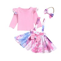 Baby Clothing Sets Long Sleeve Solid Top + Tie Dyed Suspende...