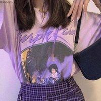 Бохо вдохновил фиолетовый график тройников топ женщины негабаритный повседневный дождевой футболкой женщины с коротким рукавом футболки T-рубашки новых 2020 женщин LJ200815