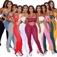 Frauen Anzug 2 Stück Sets Sommer Fitness drapierte StraplessTops Hosen-Anzug Stacked Hosen Passende Produkte Outfits Plus Size
