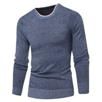 Men's Sweaters Autumn Fashion Casual Round Neck Solid Color Sweater Korean Slim Knit