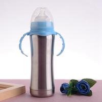 240ml Sippy Cup Stainnless Aço Baby Bottle portátil Vacuum Double Wall crianças canecas Duplas Alimentação Enfermagem garrafa Garrafa de Leite KKA8105