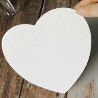 Blank Heart Shaped Puzzles 75pieces Sublimation Leeres Perlen Puzzle DIY Puzzle Hochzeit Geburtstag Valentinstag-Partei-Bevorzugungs-Geschenk LJJP383