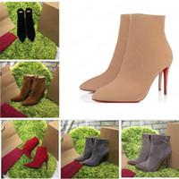 2020 [Original Box] Neue Sexy Damen High Heels 100mm Stiefel Rote Boden Knöchel Winter Echte Leder Pumps Paris Stiefel Größe 35-41