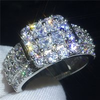 Luxury Court Jewelry 925 Sterling silver ring Princess cut Diamond Engagement wedding band rings for women Best Gift