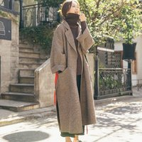 Miscele di lana da donna BHDD Versione coreana BHDD Coreano Plaid Coat of Retro Forest Tweed Donne Vita regolabile a vita a vita larga womens womens cappotti invernali