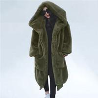 대형 겨울 가짜 모피 코트 여성 파카 긴 따뜻한 가짜 모피 재킷 코트 후드 느슨한 겨울 코트 착실히 보내다 casaco feminino