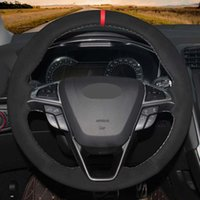 Auto Lenkradbezug Schwarz Handgenähtes echtes Leder und Wildleder für Ford Mondeo Fusion 2013-2019 EDGE 2015-2019