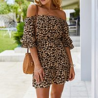 Günlük Elbiseler Bayanlar Yaz Leopar Baskı Elbise Kadınlar Seksi Slash Boyun Fırfır Slim Kısa Mini Plaj Sundress Kadın Vestidos