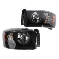 Winsun 2PCS Front Left Right Headlights for Dodge RAM 1500 2006 to 2008 Dodge RAM 2500 3500 2006 to 2009 Black