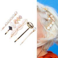 Boho Natural Shell Barrettes pour les femmes 2020 Bohemian Beach Girl Conch Starfish Set pour Lady Barrette main Accessoires cheveux