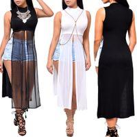 Abito lungo Beach partito elegante Slim maniche del vestito casuale estate del nuovo delle donne per la femmina O-Collo Mesh Split abiti neri