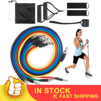 11PCS عصابات المقاومة مرونة سحب حبل سلسلة اللياقة البدنية التمارين الإيلاستك العضلات التمرين رياضة التدريب تجريب اليوغا