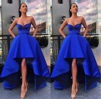 Royal Blue High Low A-Linie Ärmel Lange Abendkleider Einzigartiger Entwurfs-Schatz Sexy Promi Abendkleider Robe de Soiree
