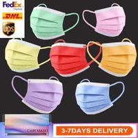 DHL shipping 3-7 أيام الأسهم الملونة أقنعة الوجه المتاح مع حلقة الأذن مرنة 3 رقائق تنفس لحظر غبار الهواء مكافحة التلوث قناع