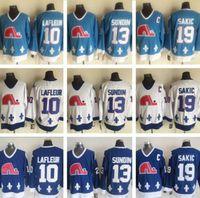 Quebec Nordiques Winter Classic Männer 10 Guy Lafleur 13 Mats Sundin 19 Joe Sakic Eishockey Trikots Blau Weiß CCM Vintage-Jersey
