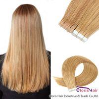 # 16 PU Haut Schuss Natürliche menschliche Haarband in Erweiterungen 20 stücke Licht Blondine Nahtlose Brasilianische Remy Straight Haar Unsichtbar auf Klebstoff