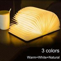 Portable 3 couleurs 3D Creative livre Night Light LED en bois 5V USB rechargeable Bureau Pliable magnétique Lampe de table Décoration