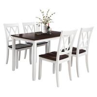 アメリカ倉庫5ピースダイニングテーブルセットホームキッチンテーブルとチェアウッドダイニングセット(ホワイト+チェリー)SH000088AAK
