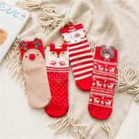 عيد الميلاد الجوارب كارتون الدب إلك أنبوب سوك فاخر منتصف الساق طول سوك نساء بنات الشتاء سميكة عيد الميلاد جوارب تيري الجوارب D92105