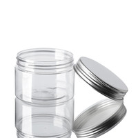 60ml di plastica trasparente Vasi Lattine in plastica PET Silos di immagazzinamento della bottiglia rotonda con l'alluminio coperchi vaso vuoto contenitore cosmetico GGA3644-6