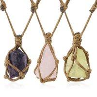 Природный камень Rope Wrap ожерелье Нерегулярные кристалл кварца Healing кулон ожерелья Регулируемая Женщины Мужчины Ретро ювелирные изделия