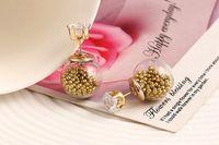 Earings для женщин Циркон Bijoux Позолоченных ювелирных изделий большого размером стеклянных двойной смоделированы жемчужной серьги стержня
