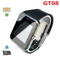 GT08 Bluetooth Smart Watch mit SIM-Karten-Slot und NFC-Gesundheitswäsche für Android Samsung Smartphone-Armband Smartwatch