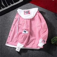 Sonbahar Vintage Denim Kadın Ceket Kore Women 2020 Yeni için Delik Casual Temel Coat Bayanlar Kapşonlu Harajuku Kot ceketler Ripped