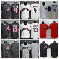 2020 мужчин бейсбол 4 кетель Марты Джерси 13 Ник Ахмед 51 Рэнди Джонсон FlexBase Cool Base Team Black White Red Shisted высокое качество