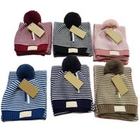 Beautiful Stripes Colors Design Knit Children Hat And Scarf ...