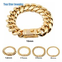 8mm 10mm 12mm 14mm 16mm 18mm Stainless Steel Bracelets 18K Gold Plated High Polished Miami Cuban Link Men Punk Chain Cubic Zirconia Clasp