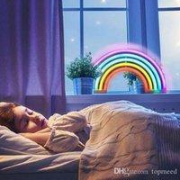 2021 Sinal de néon de arco-íris bonito, lâmpadas de arco-íris levou para decoração do dormitório, decoração do arco-íris lâmpadas de néon, decoração da parede para meninas quarto, natal