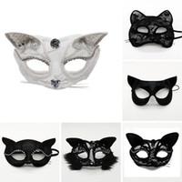 Veloce fase cosplay Spedizione Halloween Mezza puntelli maschere di prestazione del merletto sexy volto femminile animale gatto mascherina del partito di Natale maschera F2002