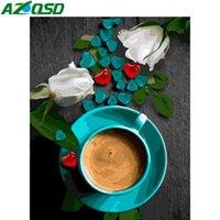 AZQSD DIY Ölgemälde durch Zahlen Blume Handbemalte Geschenk Coloring nach Zahlen Kaffeetasse Zeichnung auf Leinwand Home Decoration