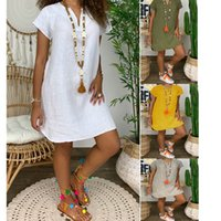 Plus Size Summer 2020 Cotton Linen Mini Dress Women V-Neck Party Dress Elegant Casual Short Sleeve Womens Sun Dresses Vestidos