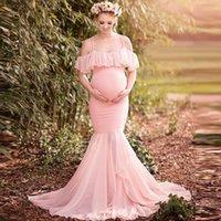 TELOTUNY vestidos de maternidad de las mujeres Pregnants Fotografía de manga corta vestidos de maternidad Apoyos para sesión de fotos L401030