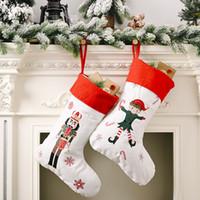 Grand Stocking Lin Casse-Noisette Les chiffres actuels de Soldat Arbre de Noël Décorations De Noël Enfants Sucrerie Sacs Nouvel An Pendentif cadeau