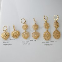 Stud Min Order 10 $ / Can Mix Design / 3 Styles - Geel Gold GP Overlay Coated Huggie Dangle Heart and Oval Charm Earring /
