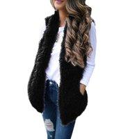Abbigliamento Moda donne cappotti inverno caldo solido di colore morbido comodo signore Sexy Lady Faux Fur casual maniche del panciotto della maglia