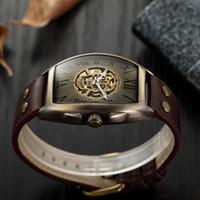 Couro Moda Vitage Homens Relógios Shenhua skull Relógios Homens Mecânico Automático Relógio Masculino