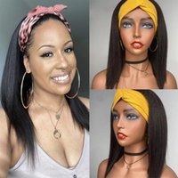 Perucas de Lace Glueless Yaki Headband Straight 150 Densidade Curto Bob Humano Cabelo Para As Mulheres Fechamento Wig Brazilian Remy