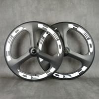 Hed 700c 3-falou rodas de carbono 70mm profundidade de 23mm largura de 23mm engrenagem fixa / rodoviário para pista / estrada corrida bicicleta tri raios de carbono rodas