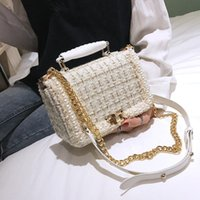 Winter Fashion New Female Square Tote bag Quality Woolen Pearl Women's Handbag Ladies Chain Shoulder Crossbody Bags
