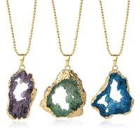 Natural Geode Pendant druzy Quartz Ouro-cor moldura oca irregular de pedra pingentes colares Homens Mulheres Trendy Jewelry