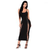 Neck Sleeveless Natural Color Dress Womens Clothing Women Dresses Sexy Drawstring Panelled Bodycon Dresses Fashion Scoop