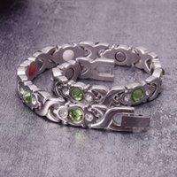 Bracciali magnetici per Cristalli donne verdi Donne Terapia Croce bracciale in acciaio inossidabile artrite braccialetto di energia di guarigione