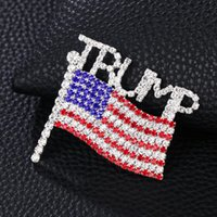 Trump Broche diamant Drapeau américain Broche Lettre strass cristal Trump Badges Badge Manteau Robe Pins Vêtements Bijoux YYA386
