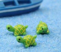 Artificiale Carino Green Tortoise Animali Fairy Garden Garden Miniature Gnomi Moss Terrari in resina Artigianato figurine per la decorazione del giardino SN1381